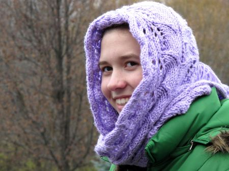 Twin Leaf Hooded Scarf